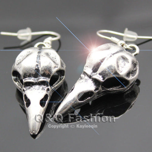 Vintage Silver Skull Bird Dangle Earrings Crow Raven Gothic Punk Emo Steampunk Jewellery - LADSPAD.UK