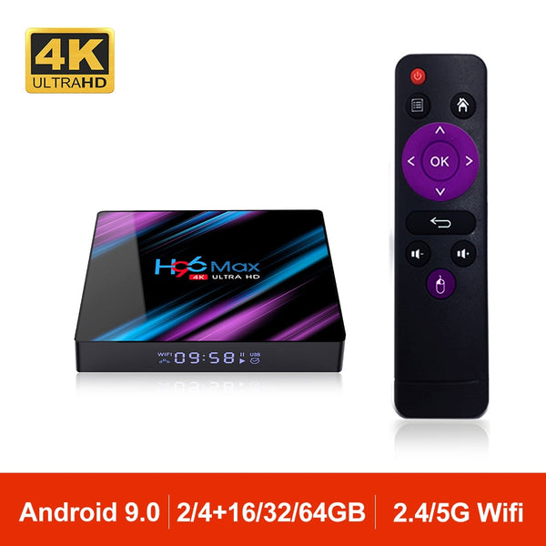 H96MAX Android 9.0 TV Box RK3318 Quad Core 64bit 2.4G/5.8G Wifi BT 4.0 4K HD Media Set Top Box Google VS X96 H96 MAX 2GB 4GB - LADSPAD.UK