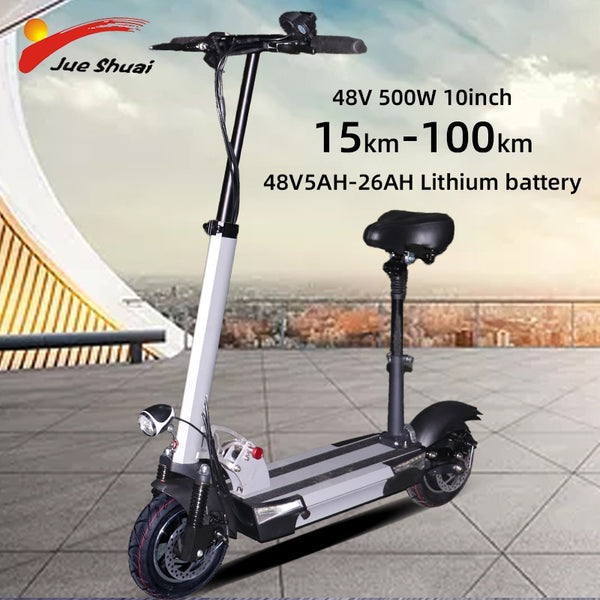 48V500W 10inch Electric Scooter 100KM Distance 26AH Lithium Battery Powerful Foldable Adult Electric Kick Skateboard e scooter - LADSPAD.COM