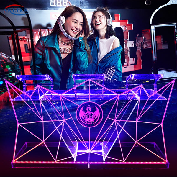 Acrylic DJ Table Mesa Para Cabina Dj Booth Led Dj Facade Mixer Stand Bar Furniture Fashionable Transparent Glow Custom Logo
