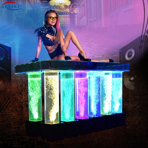 AKLIKE dj light with lights led acrylic dj table bar table for bar, dj equipment DJ booth dj laptop stand dj laser lights - LADSPAD.COM