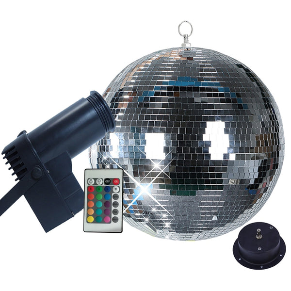 Thrisdar Rotating Mirror Disco Ball party Light With 10W RGB Beam Pinspot Stage Light With Remote Holiday Xmas KTV Mirror Ball - LADSPAD.COM