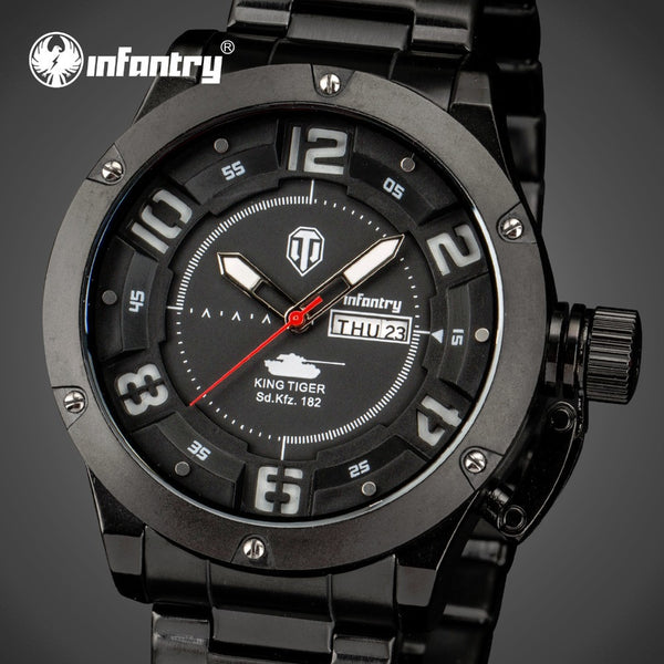 INFANTRY Mens Luxury Stainless Steel Watches