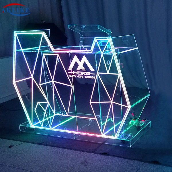 Cheap Led DJ Table Dj Booth AKLIKE Acrylic Light Dj Display Mixer Desk Pro Dj Equipment custom Commercial Night Club Furniture
