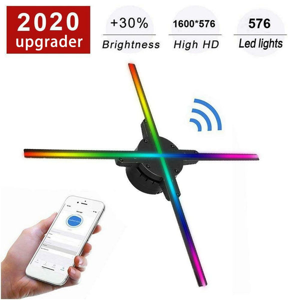 Wifi 3D Hologram Projector Fan 576 LED Holographic Imaging Lamp Player 3D Remote Advertising Display Projector Light With 16G TF - LADSPAD.COM