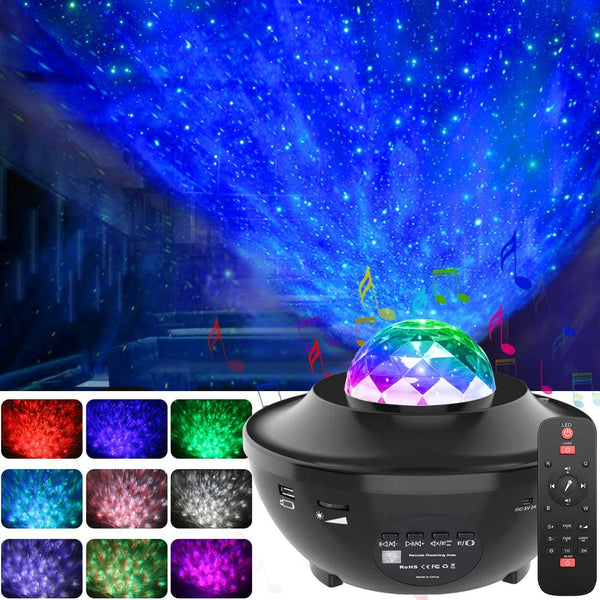 Colorful Starry Sky Projector Blueteeth USB Voice Control Music Player LED Night Light Romantic Ocean Wave Projector - LADSPAD.COM