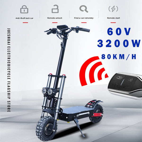 60V3200W Electric Scooter 11inch Motor Wheel Off Road Fat tire Dual Powerful E scooter Foldable Adults EScooters Long Hoverboard - LADSPAD.COM