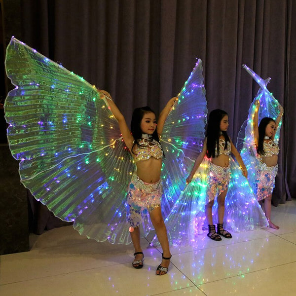 Children Led Isis Wings White Rainbow Kids Led Shining Wings Belly Dance Accessories Girls Dance Wings with Stick - LADSPAD.COM