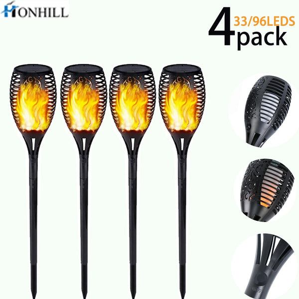 Honhill 33/96 LED Solar Flame Lamp Flickering Outdoor IP65 Waterproof Landscape Yard Garden Light Path Lighting Torch Light 4pcs - LADSPAD.UK