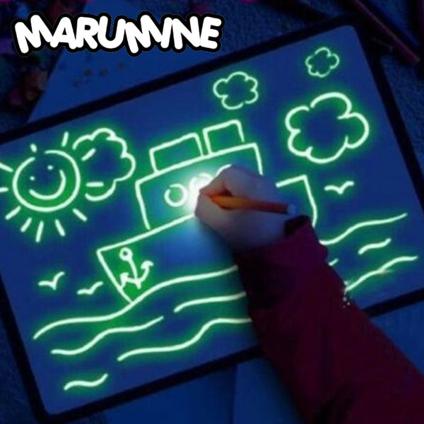 A3 A4 A5 Magic Luminous Drawing Board Draw With Light-Fun Sketchpad Board Fluorescent Pen Russian English Light Up Draw Toys - LADSPAD.COM