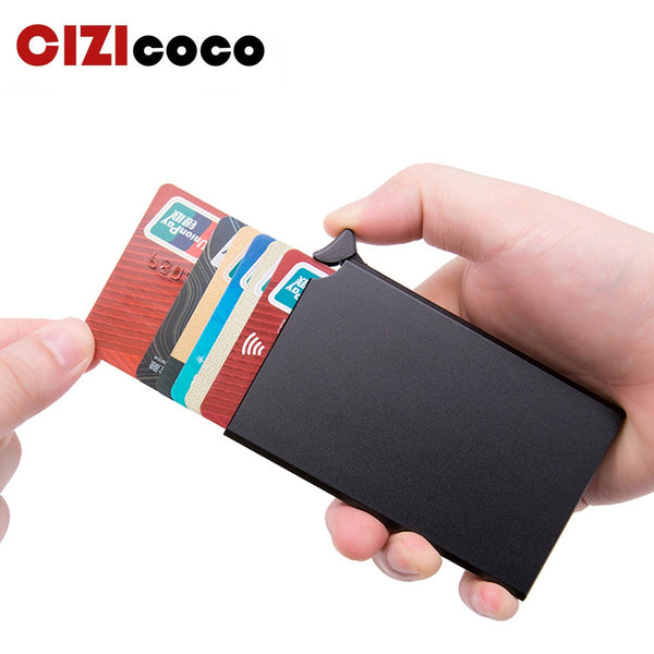 RFID Anti-theft Smart Wallet Thin ID Card Holder Unisex Automatically Solid Metal Bank Credit Card Holder Business Mini - LADSPAD.COM