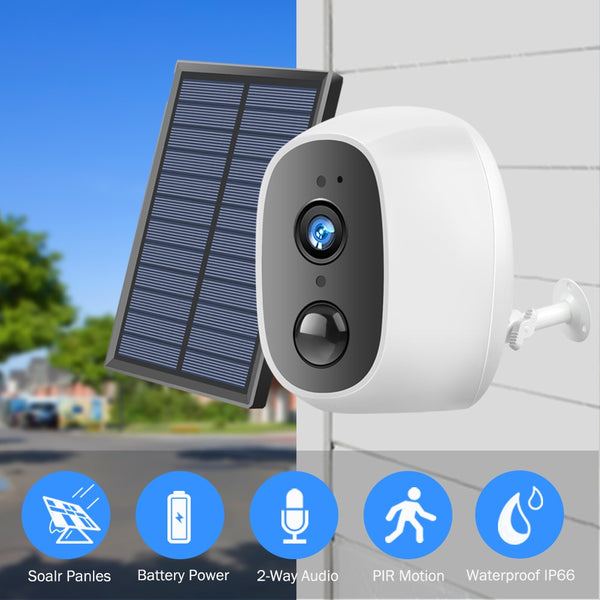 Hismaho Solar Power Charging Wireless WiFi Camera 1080P 2MP HD Outdoor Security IP Camera Surveillance External Solar Panel - LADSPAD.COM