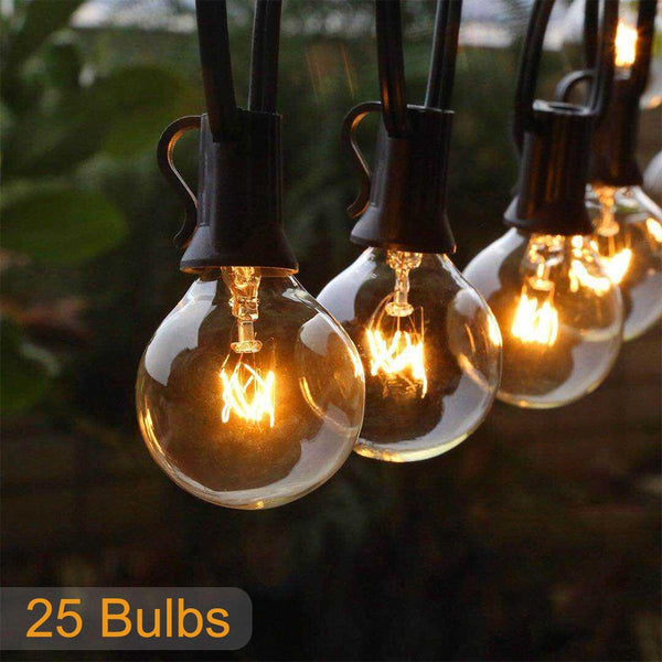 25FT Patio string light Christmas G40 Globe Festoon bulb fairy string light outdoor party garden garland wedding Decorative - LADSPAD.COM