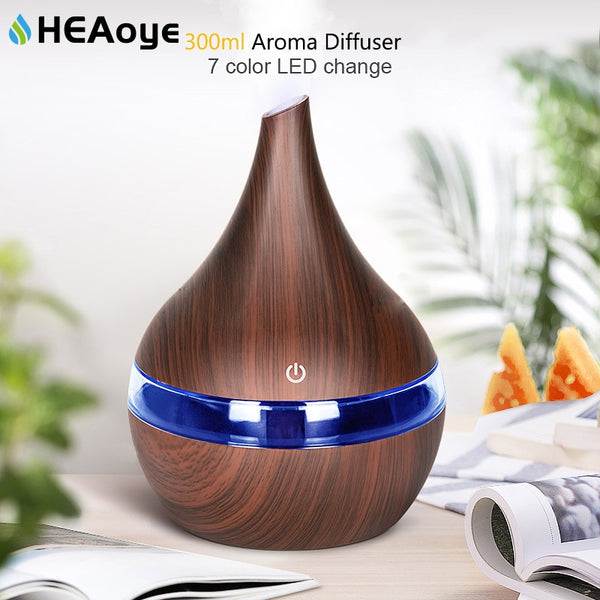 300ml USB Air humidifier Electric Aroma air diffuser wood Ultrasonic Essential oil Aromatherapy cool mist maker for home Car - LADSPAD.COM