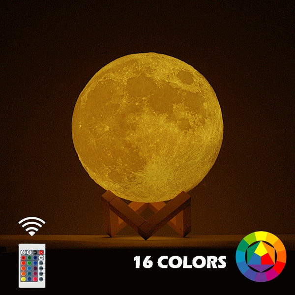 New Dropship  3D Print Moon Lamp Colorful Change Touch Usb Led Night Light Home Decor Creative Gift - LADSPAD.COM