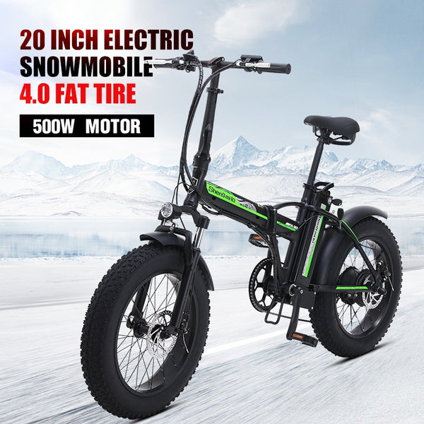 Electric bike 500W4.0 fat tire electric bike beach cruiser bike Booster bicycle folding  48v 15AH lithium battery ebike - LADSPAD.COM