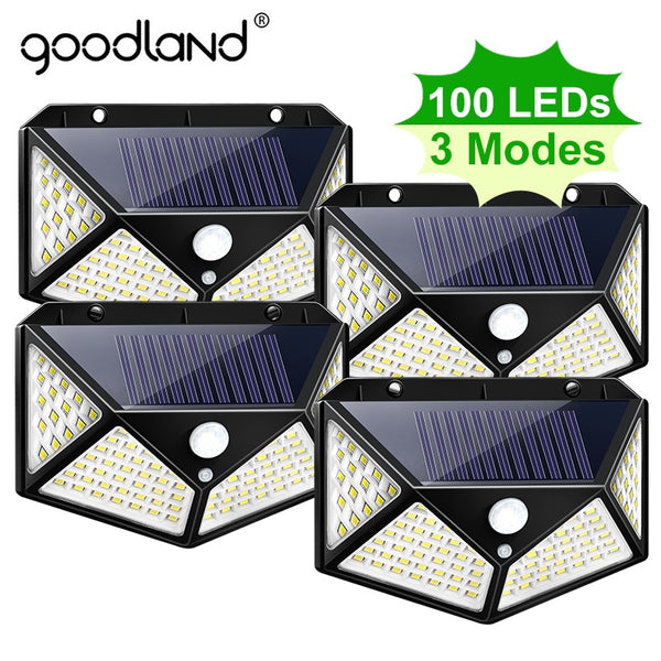 Goodland 100 LED Solar Light Outdoor Solar Lamp Powered Sunlight Waterproof PIR Motion Sensor Street Light for Garden Decoration - LADSPAD.COM