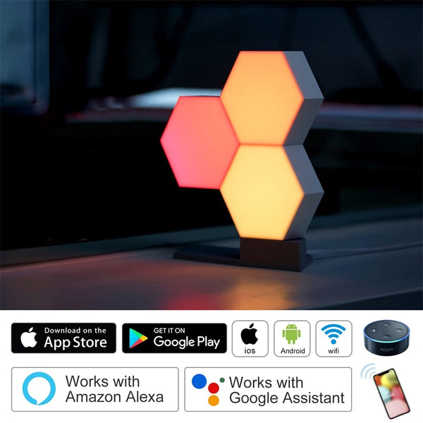 Lifesmart DIY Quantum Lights Creative Geometry Assembly Smart APP Control Home LED Night Light Work With Amazon Alexa Smart Lamp - LADSPAD.COM