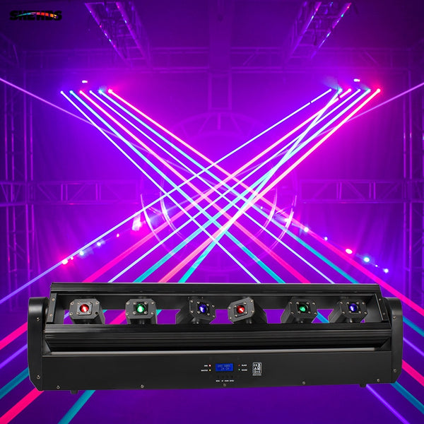 Laser Moving Bar 6x500mW 6 Eyes RGB Stage Effect Bar Beam Moving Head Light DJ Party Disco Wedding Stage DMX Control Projector - LADSPAD.COM
