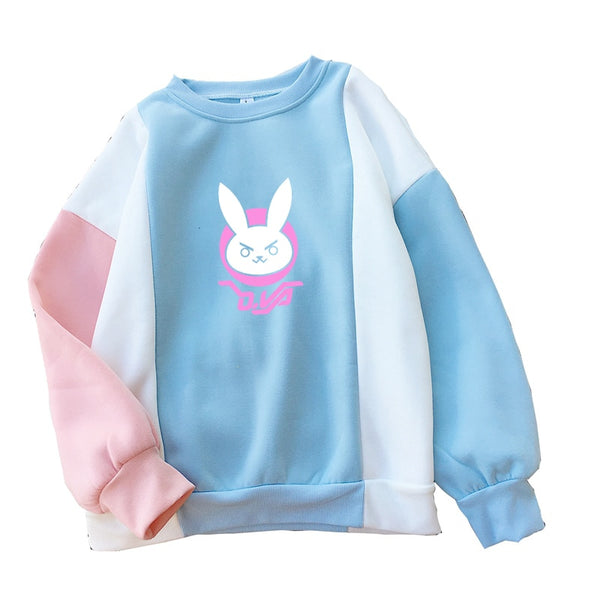 OW DVA Rabbit D.VA Logo Print Hoodie Sweatshirt Women Autumn Winter Fleece Harajuku Kawaii Cartoon Streetwear Hit Color Pullover - LADSPAD.COM