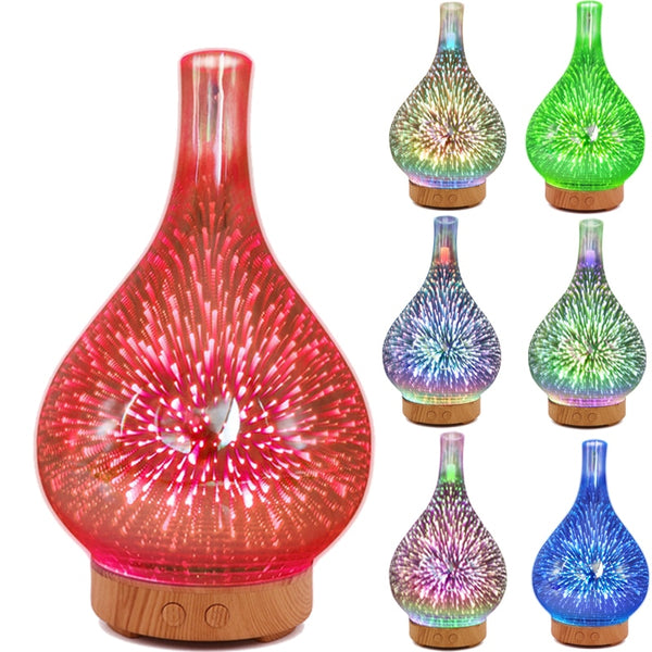 3D Firework Glass Vase Shape Air Humidifier with 7 Color Led Night Light Aroma Essential Oil Diffuser Mist Maker Ultrasonic Humi - LADSPAD.COM