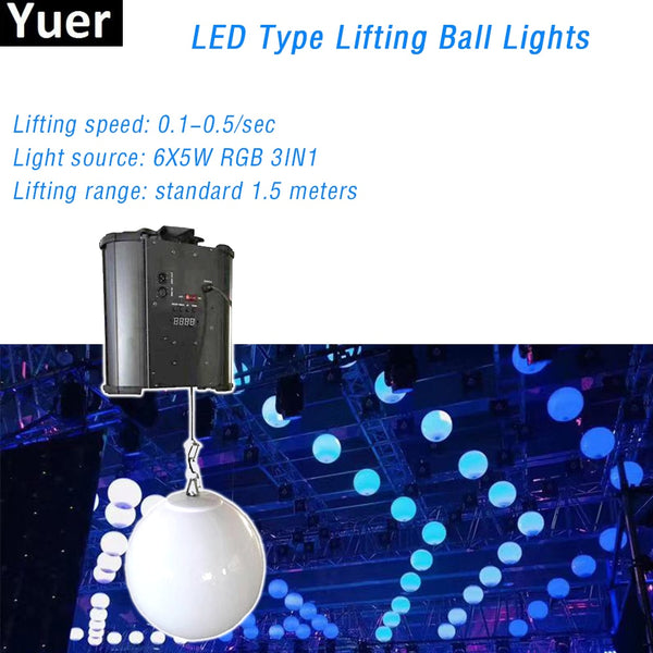 3D LED Lifting Ball Light 6X5W RGB 3IN1 5m Lifting Range Wave Rectangle Line LOGO Other Patterns DJ Disco Party Stage Light