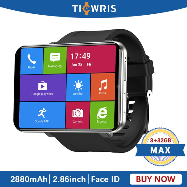 "TICWRIS MAX 3GB 32GB Smart Watch Men Face ID Camera 2880mAh 2.86"" GPS WIFI 4G Android Bluetooth Smartwatch Phone With Sim Card - LADSPAD.COM"