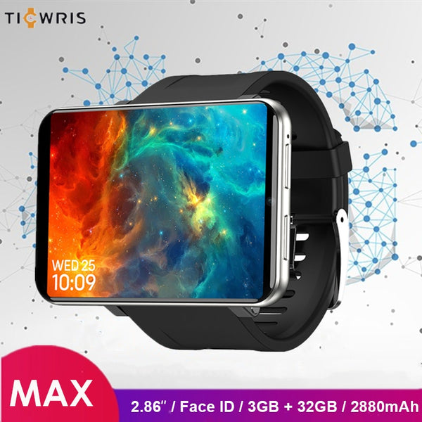 Ticwris Max 4G Watch Phone 2.86 inch Face ID 2880mAh 3GB RAM 32GB ROM IP67 Waterproof Android Smart Watch 8.0MP for iOS Android - LADSPAD.COM