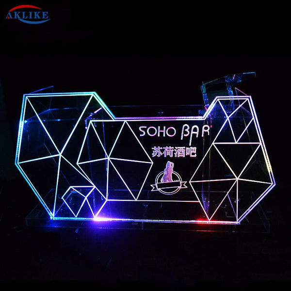 Design Illuminated Acrylic Bar DJ Table AKLIKE Custom Dj booth Colorful LED Lights Customized Logo Furniture Desk for Sale