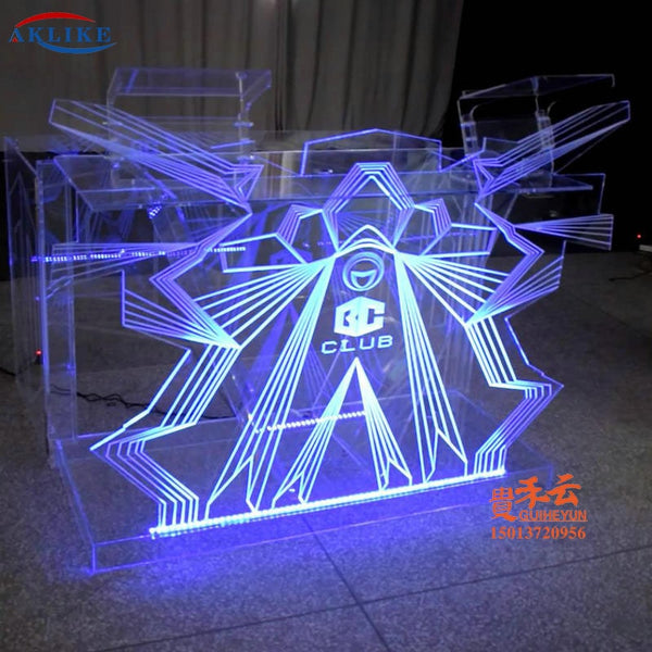 Outlet Commercial Furniture Acrylic DJ Table Movable Equipment AKLIKE LED Lighting Fashionable Transparent Bar Dj booth Dj Stand