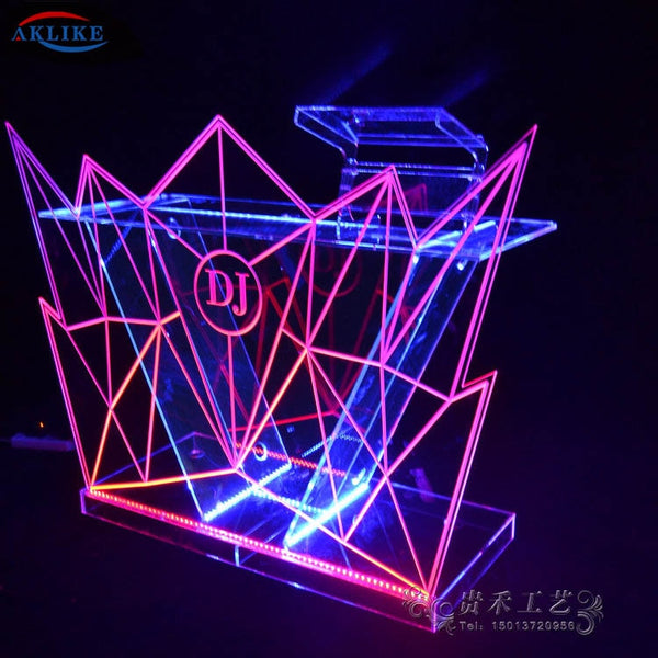 Acrylic DJ Table Funktion AKLIKE Bar Dj Mixer Controller LED Lighting Dj Booth 150* 50* 90 CM Customized Logo Furniture Desk - LADSPAD.COM