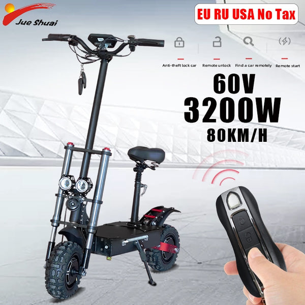 80KM/H Powerful Electric Scooters Adults 60V 3200W 11inch Off Road Fat tire Dual Motors e scooter Electric Skateboard Hoverboard