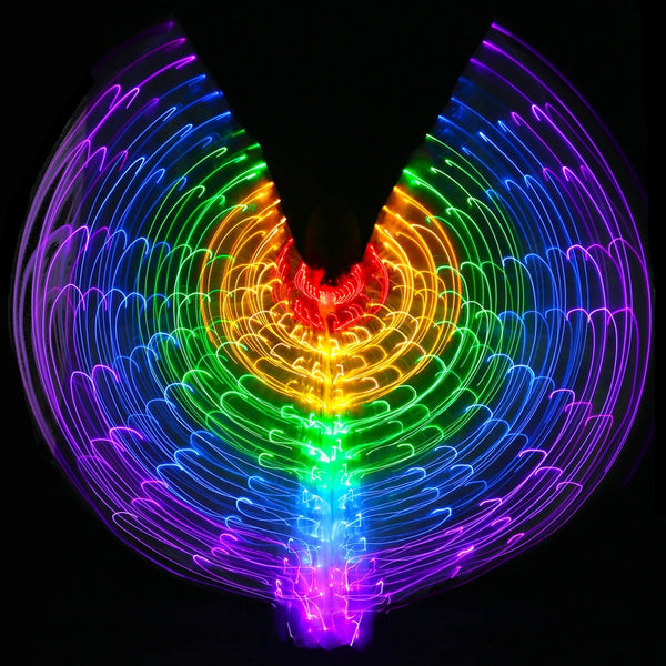 New Performance Prop Women Dance Accessories Girls DJ LED Wing Light Up Wing Costume LED Butterfly Wings Rainbow colourful - LADSPAD.COM