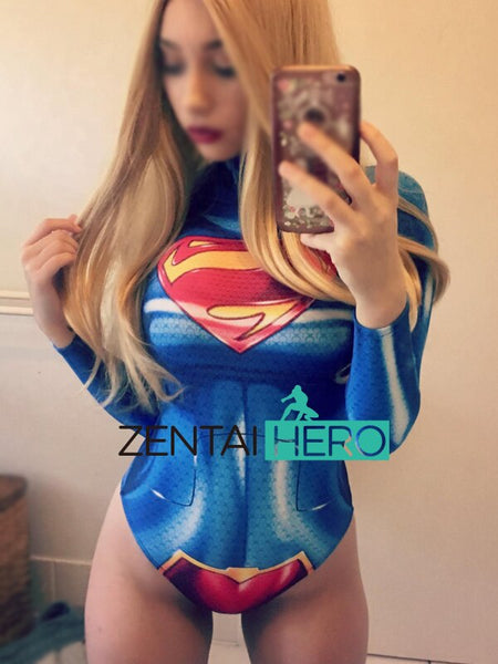 Free Shipping 3D Print NEW 52 Supergirl Superhero Unitards Zentai Leotards Lady Bodysuit Superman Halloween Cosplay Costume - LADSPAD.COM
