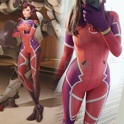 3D Printed D.VA White Rabbit Cosplay Costume Zentai Game Costume dva Skin Girl/Women/Lady Superhero Catsuit Custom D.VA Bodysuit - LADSPAD.COM
