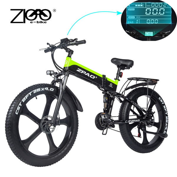 ZPAO Fat Bike e Bike 1000W Folded Electric Bicycle Electronic Bikes Bicicleta Electrica Adulto Mountain Electrical Bicycles