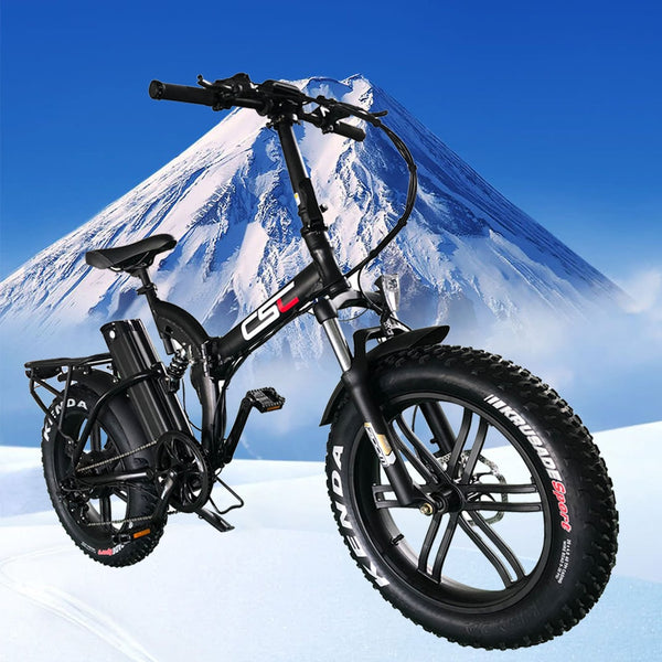"CSC fat tire 20"" 4.0 48V 500W electric bicycle Snow mountain folding E-bike 48V 15.6AH lithium battery 2A Charger ebike - LADSPAD.COM"