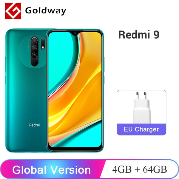 "Global Version Xiaomi Redmi 9 4GB 64GB Smartphone Helio G80 Octa Core 13MP Quad Camera 6.53"" FHD+ Display 5020mAh Battery"