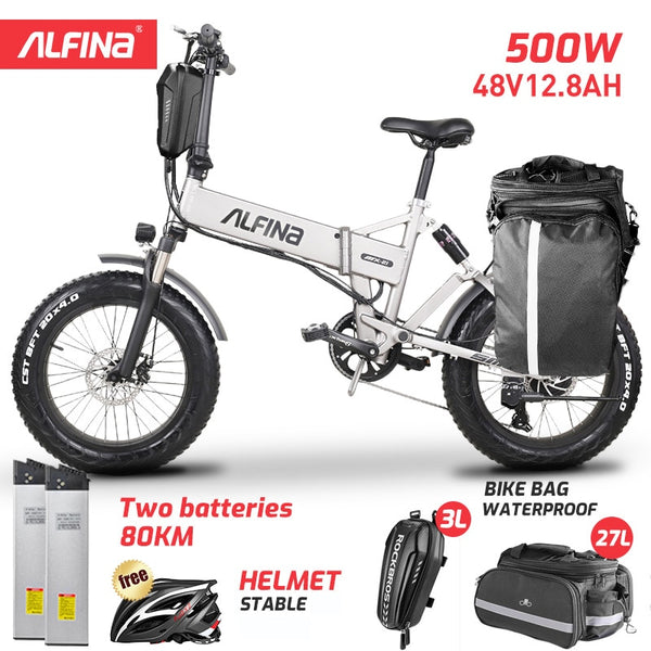 ALFINA New electric bicycle snow mountain electric bike 20inch 4.0 fat tire ebike beach bicicleta eletrica 500W 40KM - LADSPAD.UK