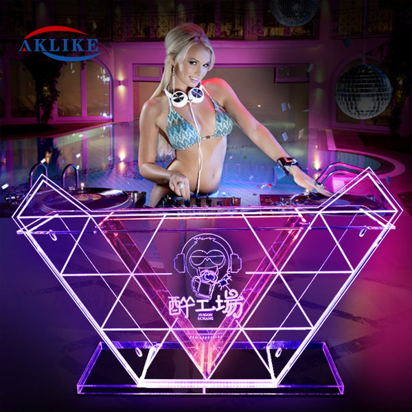 Cheap Booth Led Dj Lighted Table Customized Logo Aklike Dj Mixer Acrylic Mesa Productos Dj Equipment Stage Lights