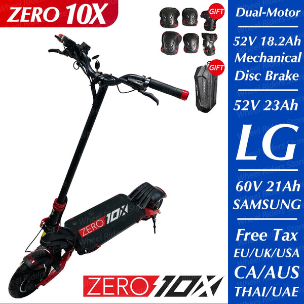 ZERO 10X scooter 10inch dual motor electric scooter 52V 2000W off-road e-scooter 65km/h double drive high speed scooter off road - LADSPAD.COM