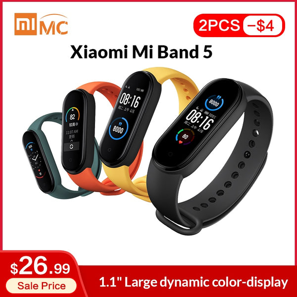 "In Stock Xiaomi Mi Band 5 Smart Bracelet 1.1"" AMOLED Colorful Screen Heart Rate Fitness Tracker Bluetooth 5.0 Waterproof Miband5"