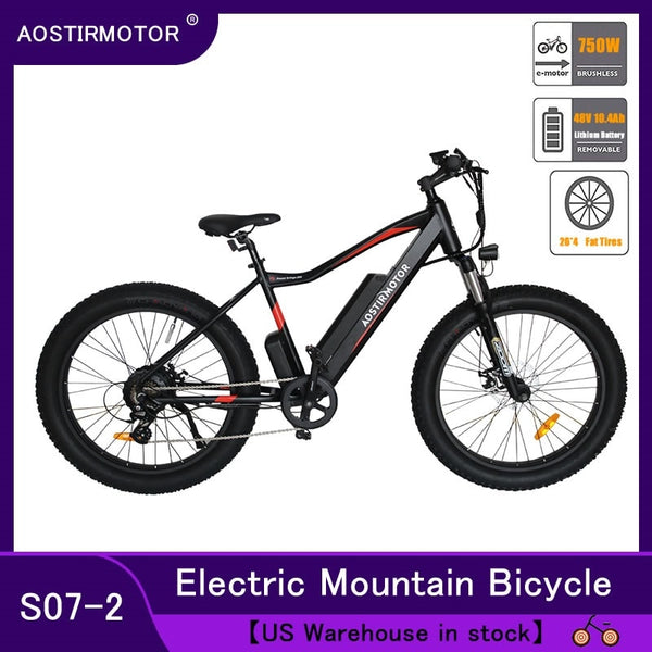 AOSTIRMOTOR Electric Bike Fat Tire Electric Mountain Bicycle Beach Cruiser Bike Booster Ebike 750W 48V 10.4Ah Lithium Battery