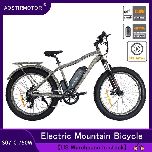 AOSTIRMOTOR Electric Bicycle 4.0 Fat Tire Electric Mountain Bike 750W Ebike Beach Bike Snow Bike 48V 13Ah Lithium Battery Bike - LADSPAD.COM
