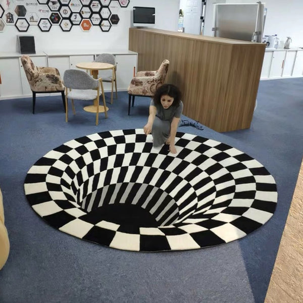 3D Vortex Illusion Rug Carpet Tapis Impression Carpet Floor Pad Impression Print Bottomless Hole Mat Blanket Room Decoration