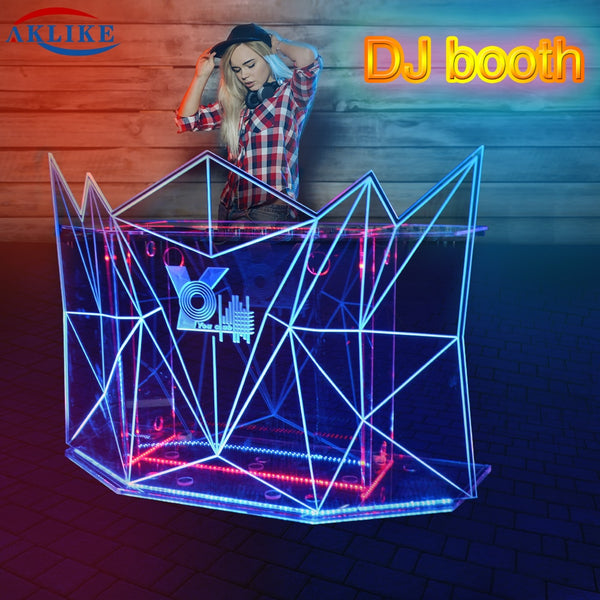 Led Dj Booth Truss Furniture Aklike Materias De Big Dj Facade Mixer Controller Meubel Acrylic Dj Podium Desk Customized Logo