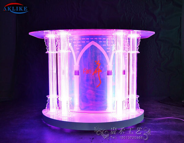 2020 High Quality AKLIKE Removable Acrylic Bar DJ Table Design LED Lighting Display Customized Furniture Manufacture Dj Booth