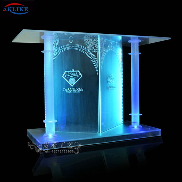 Design Bar Furniture Manufacture AKLIKE Acrylic Bar DJ Table Colorful Equipment Mixer LED Lighting Counter Customized Dj Booth