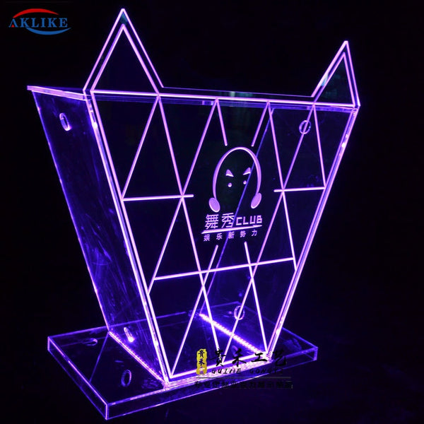 2020 Best Seller Design Acrylic DJ Table Bar AKLIKE Night Club Furnituer LED Light Customized Colorful Counter Dj Booth
