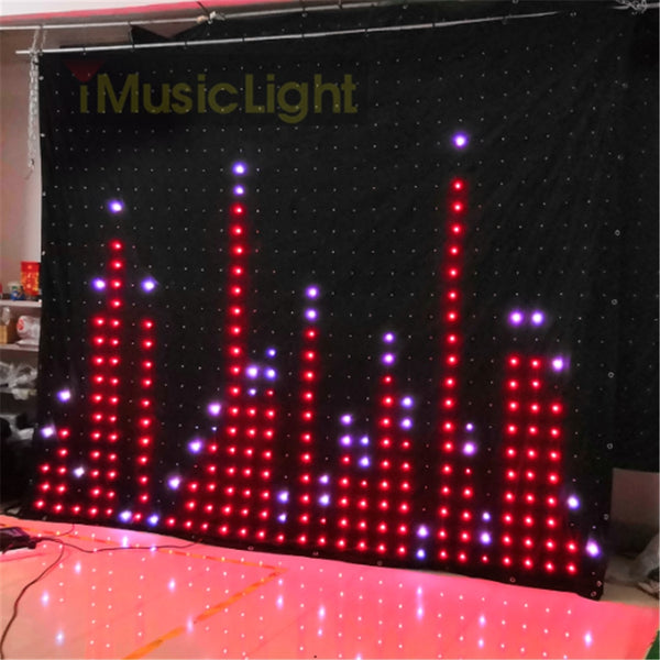 P10 2.5MX3M PC/ DMX Controller LED Vision Curtain Stage Flexible Screen DJ Background LED Video Curtain